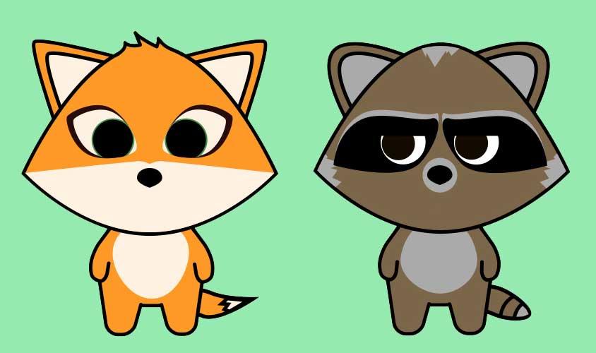 FoxAndRaccoonIllustration
